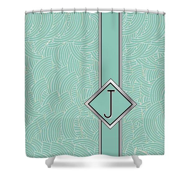 1920s Blue Deco Jazz Swing Monogram ...letter J Shower Curtain