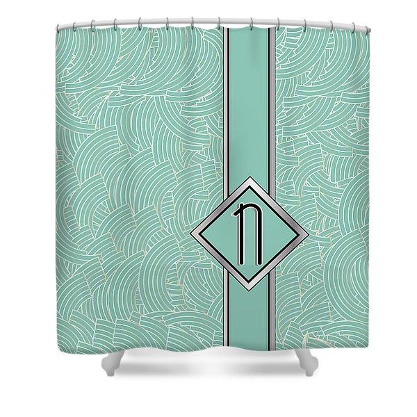 1920s Blue Deco Jazz Swing Monogram ...letter N Shower Curtain