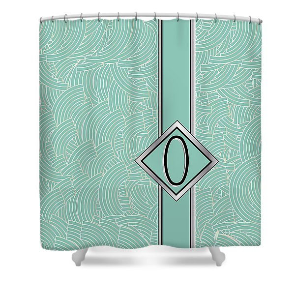 1920s Blue Deco Jazz Swing Monogram ...letter O Shower Curtain