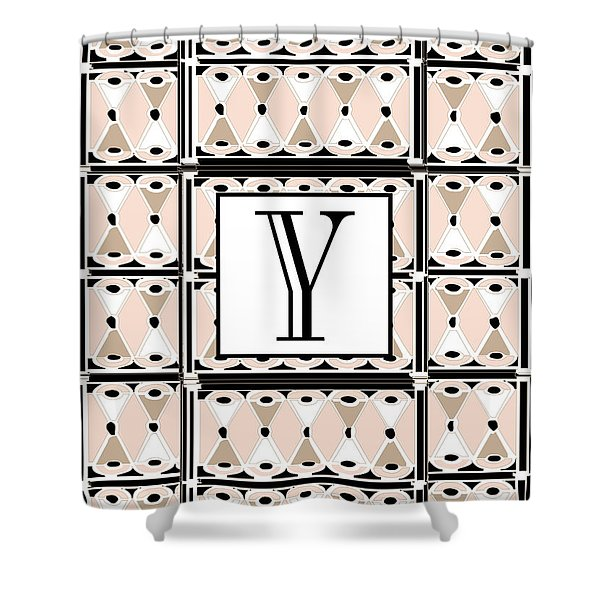 1920s Pink Champagne Deco  Monogram  Y Shower Curtain