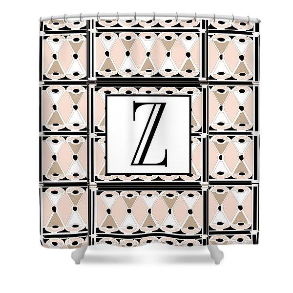 1920s Pink Champagne Deco Monogram  Z Shower Curtain