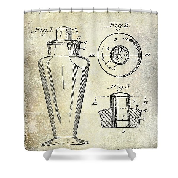 1925 Cocktail Shaker Patent  Shower Curtain