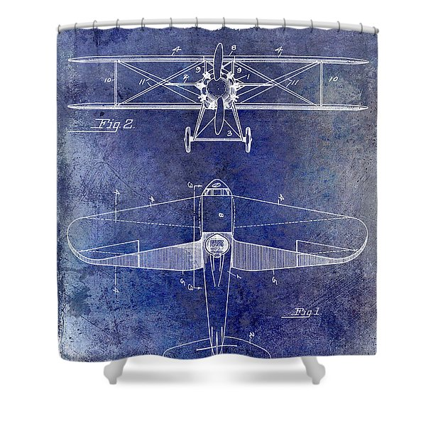 1929 Airplane Patent Blue Shower Curtain