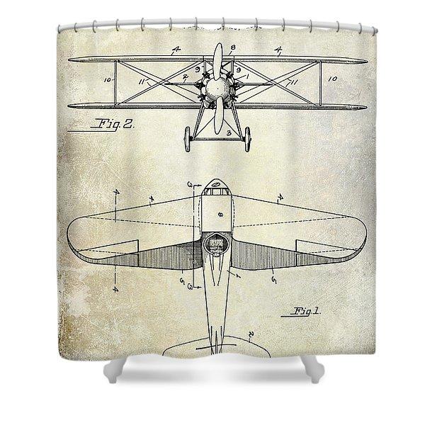 1929 Airplane Patent Shower Curtain