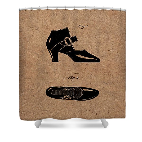 1928 Mary Jane Shoes Patent 1 Shower Curtain