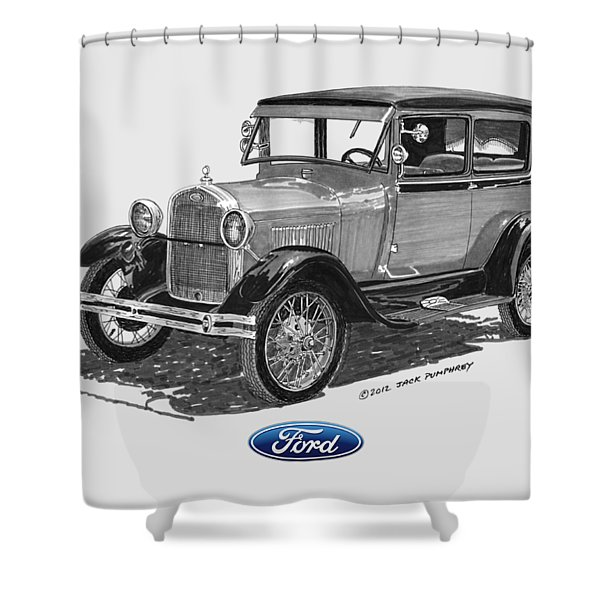Model A Ford 2 Door Sedan Shower Curtain