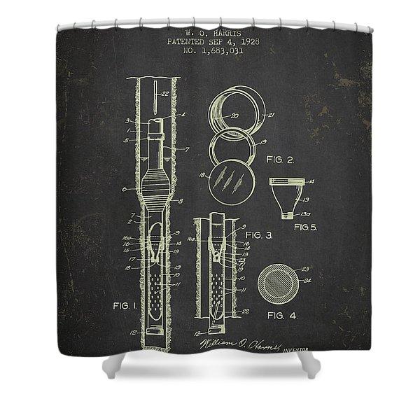 1928 Oil Well Tester Patent - Dark Grunge Shower Curtain