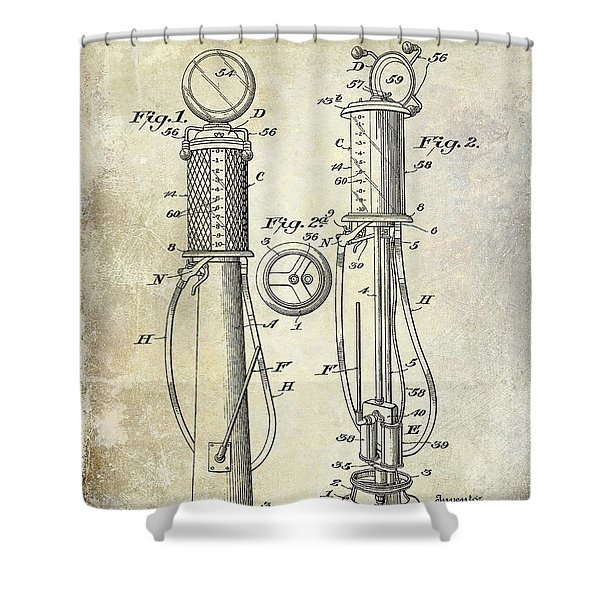 1930 Gas Pump Patent Shower Curtain