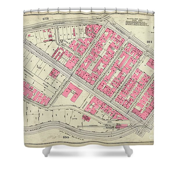 1930 Inwood Map  Shower Curtain