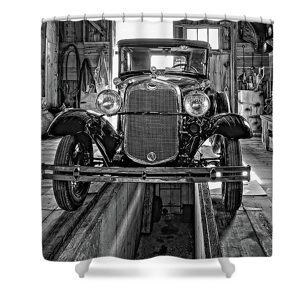 1930 Model T Ford Monochrome Shower Curtain