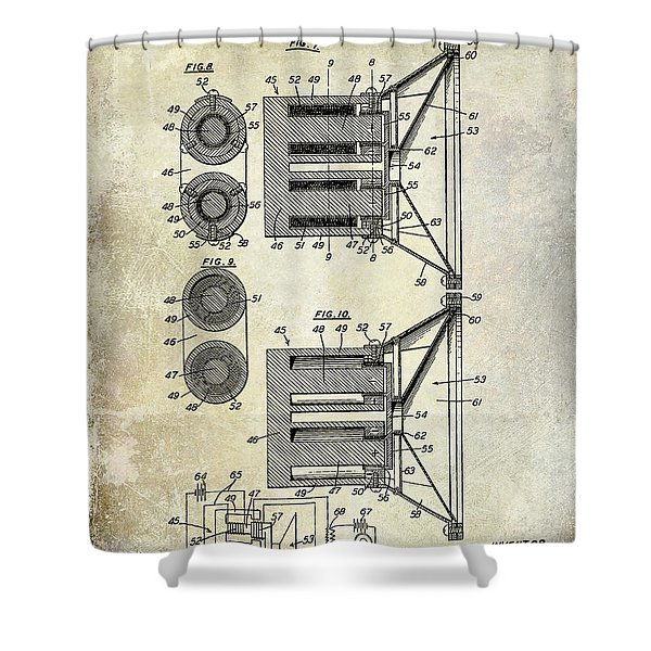 1931 Speaker Patent Drawing  Shower Curtain