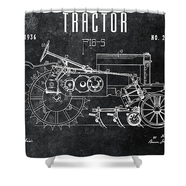 1936 Chalkboard Tractor Patent Shower Curtain