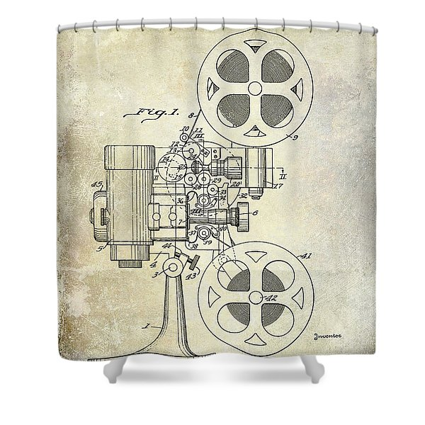 1936 Movie Projector Patent Shower Curtain