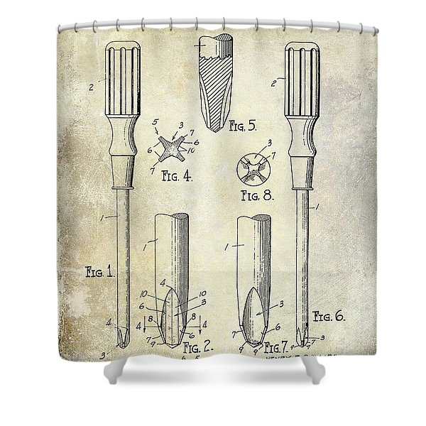 1936 Screwdriver Patent Shower Curtain