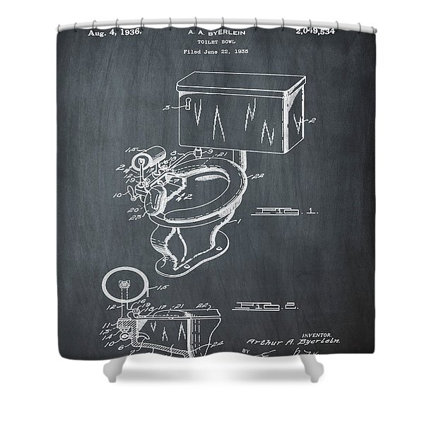 1936 Toilet Bowl Patent Chalk Shower Curtain