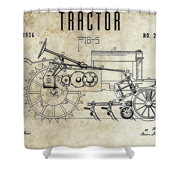 1936 Tractor Patent Shower Curtain