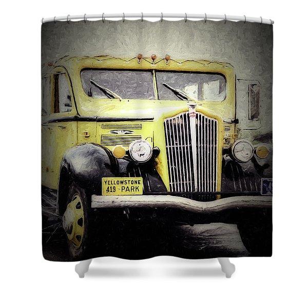 1936 White Model 706 Tour Bus Shower Curtain