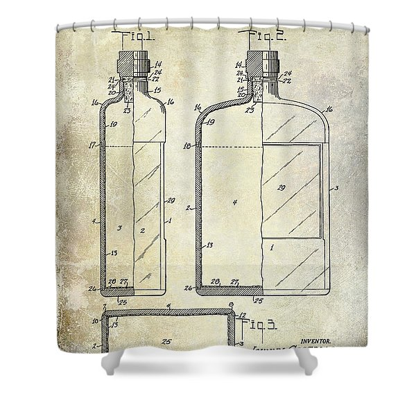 1937 Liquor Bottle Patent  Shower Curtain