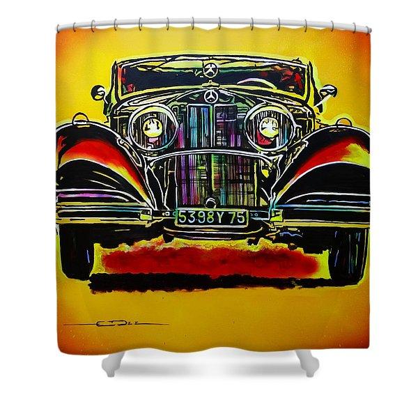 1937 Mercedes Benz First Wheel Down Shower Curtain