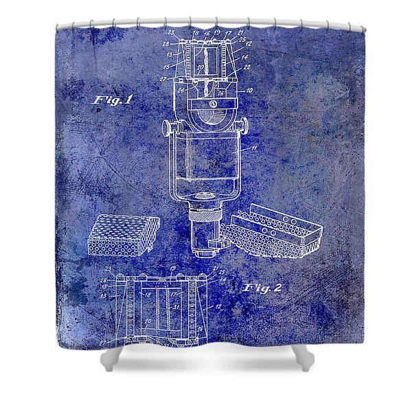 1938 Microphone Patent Drawing Blue Shower Curtain