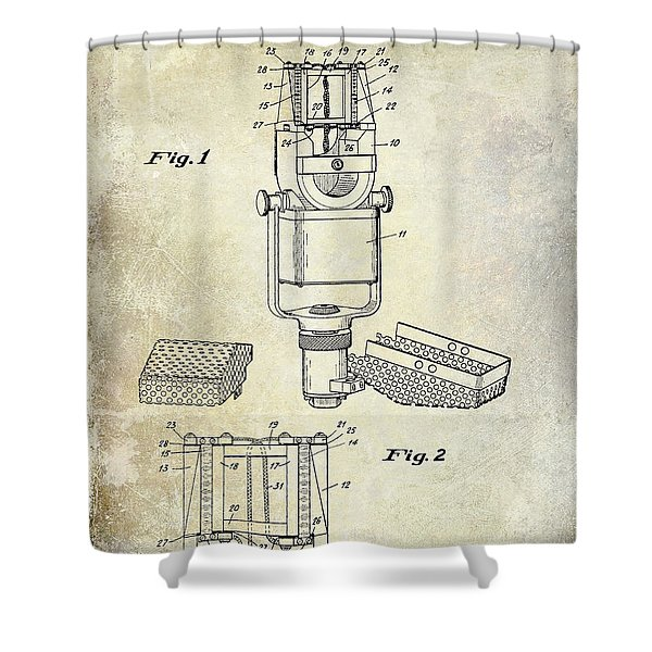 1938 Microphone Patent Drawing Shower Curtain