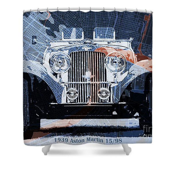 1939 Aston Martin 15-98 Over New Orleans Vintage Blue And Orange Map Shower Curtain