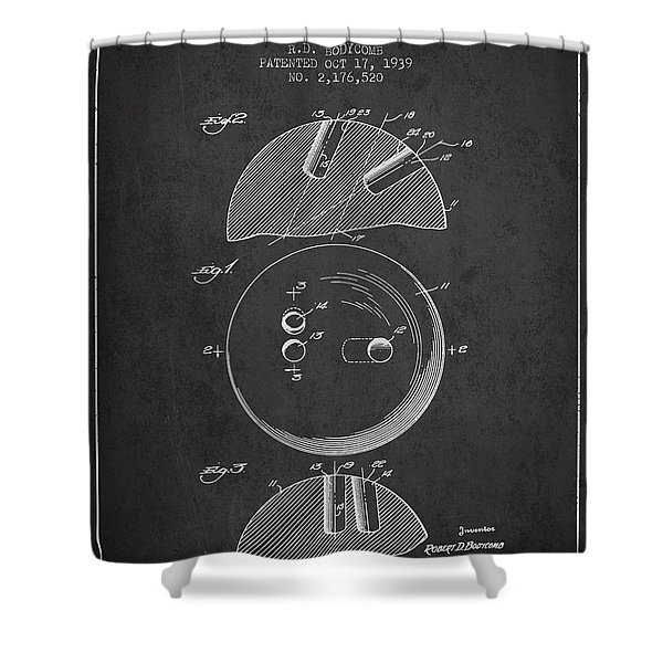 1939 Bowling Ball Patent - Charcoal Shower Curtain