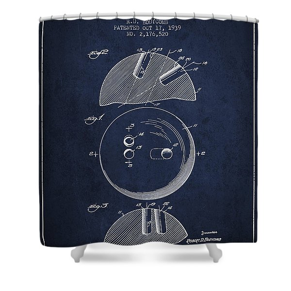 1939 Bowling Ball Patent - Navy Blue Shower Curtain
