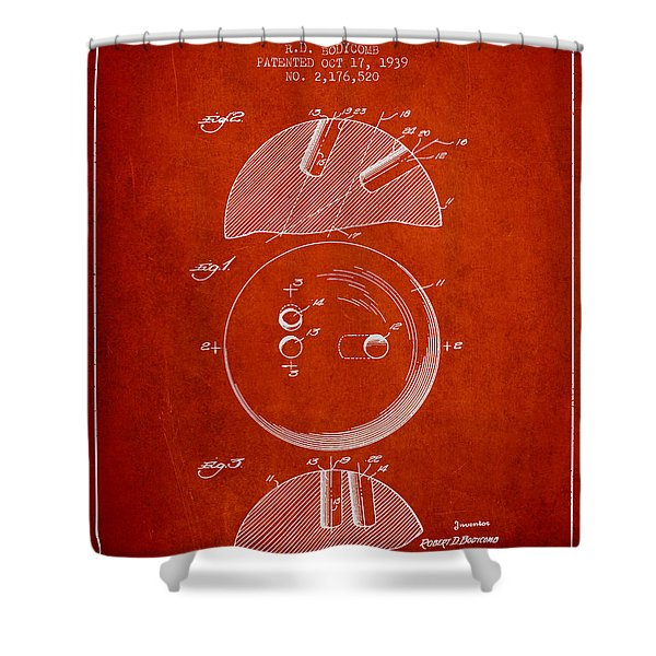 1939 Bowling Ball Patent - Red Shower Curtain