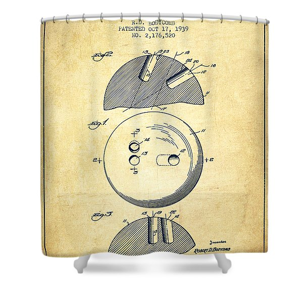1939 Bowling Ball Patent - Vintage Shower Curtain