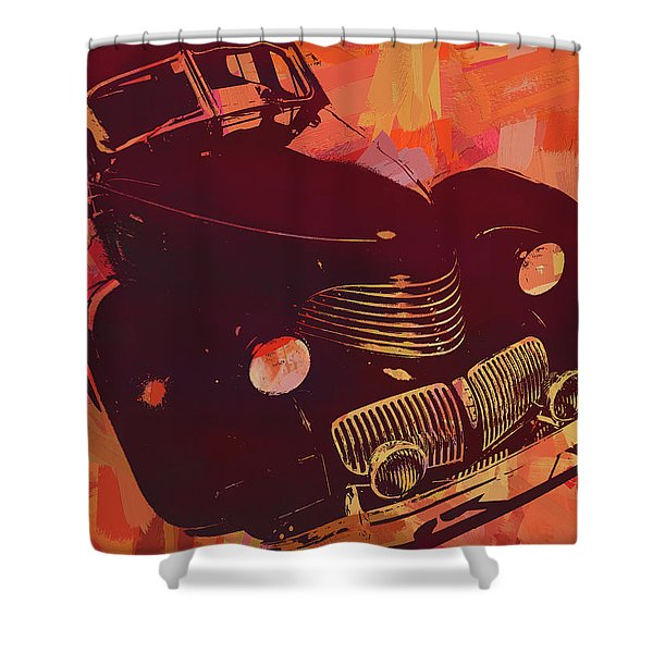 1940 Hupp Skylark Red Pop Shower Curtain