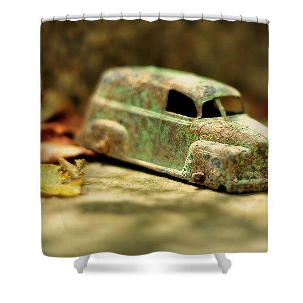 1940s Green Chevy Sedan Style Toy Car Shower Curtain