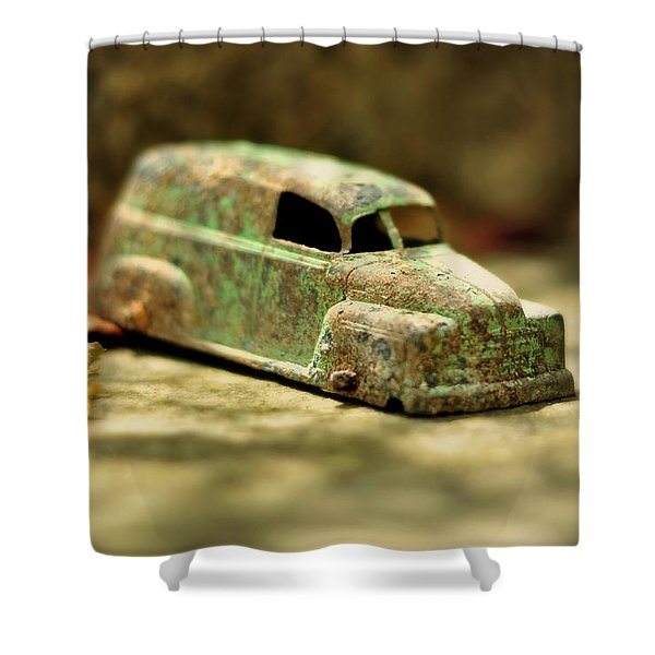 1940s Green Chevy Sedan Style Toy Car Shower Curtain