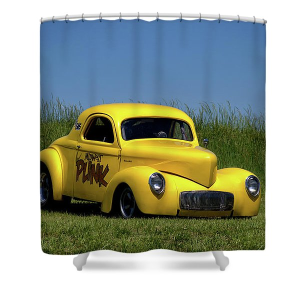 1941 Willys Coupe Dragster Shower Curtain