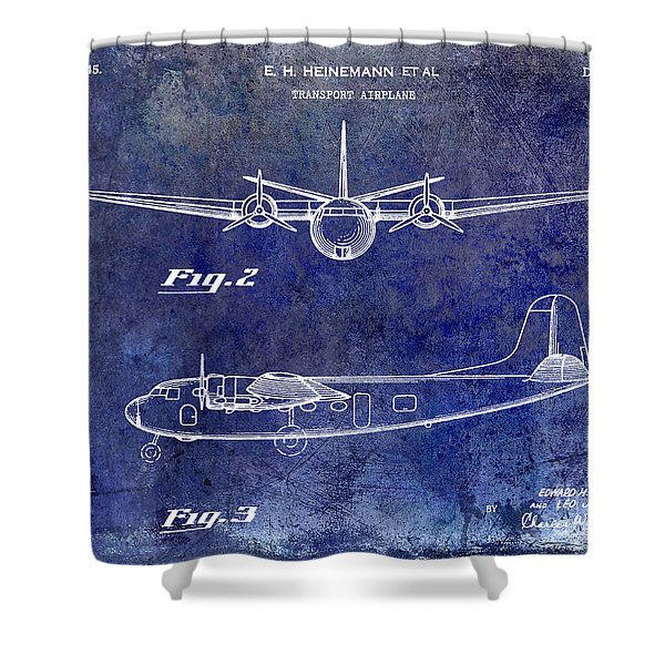 1946 Airplane Patent Blue Shower Curtain