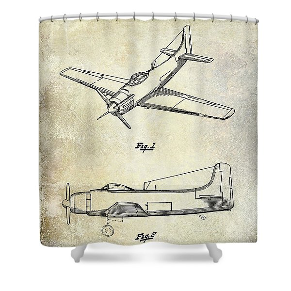 1947 Airplane Patent Shower Curtain