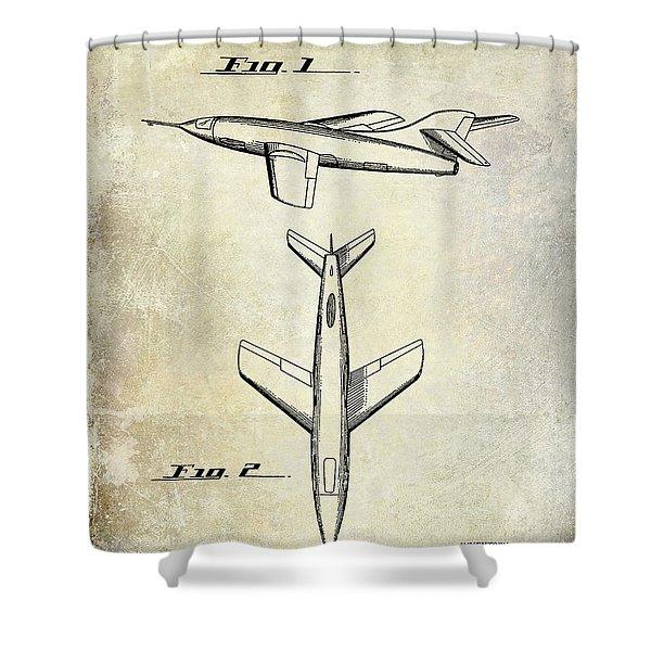 1947 Jet Airplane Patent Shower Curtain