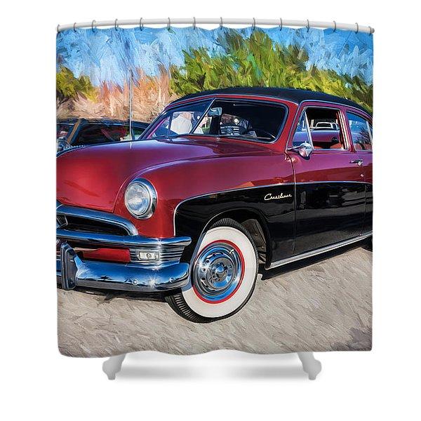 1950 Ford 2 Door Crestliner Painted    Shower Curtain