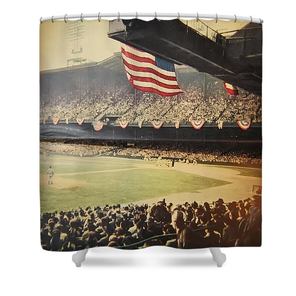 1950 Phillies Vs Yankees World Series Guide Shower Curtain by Bill Cannon