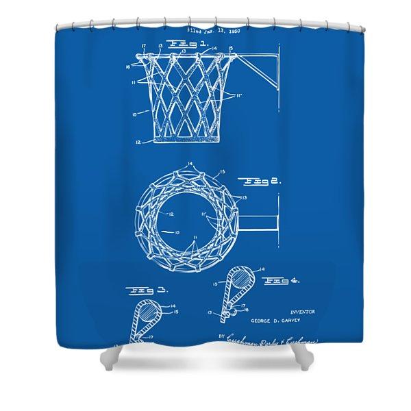 1951 Basketball Net Patent Artwork - Blueprint Shower Curtain