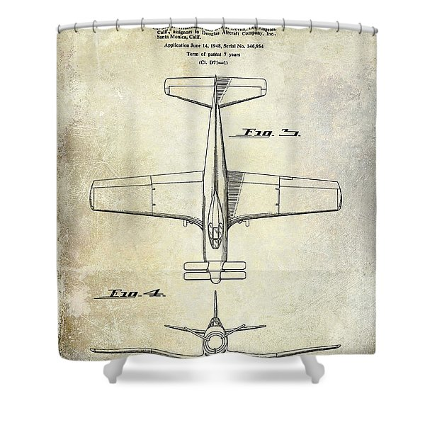 1955  Airplane Patent Drawing 2 Shower Curtain