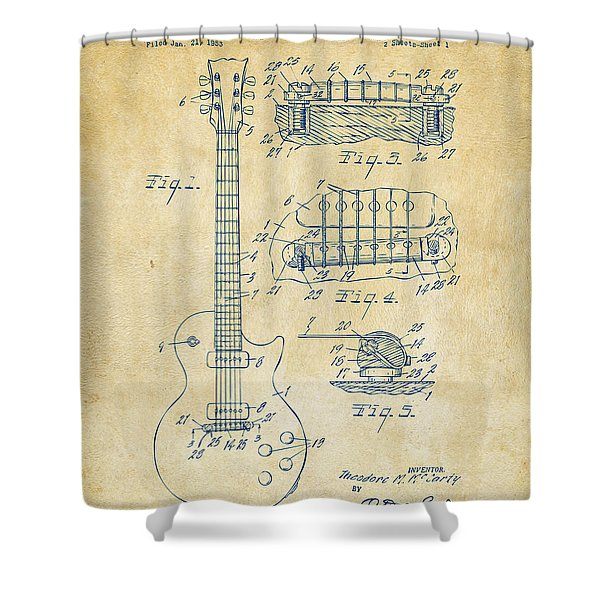 1955 Mccarty Gibson Les Paul Guitar Patent Artwork Vintage Shower Curtain