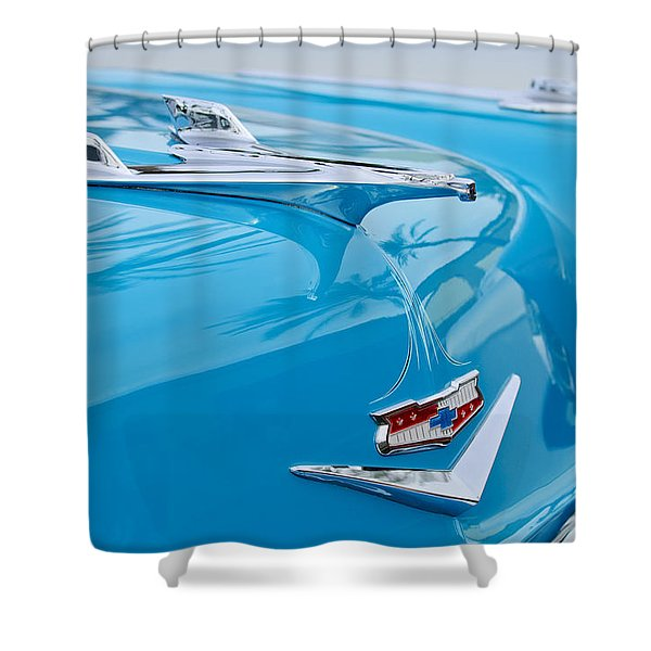 1956 Chevrolet Belair Nomad Hood Ornament Shower Curtain