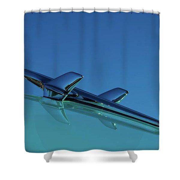 1956 Chevy Belair Hood Ornament Shower Curtain