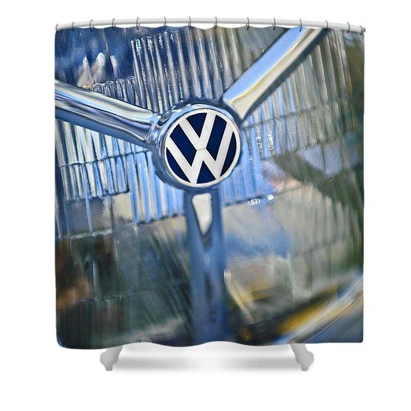 1956 Volkswagen Vw Bug Head Light Shower Curtain
