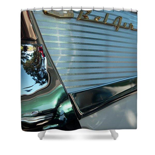 1957 Chevy Belair Fender Emblem Shower Curtain