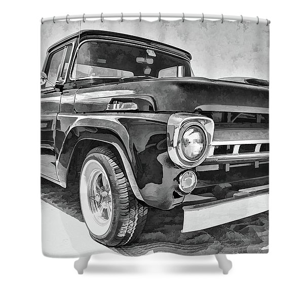 1957 Ford F100 In Black And White Shower Curtain