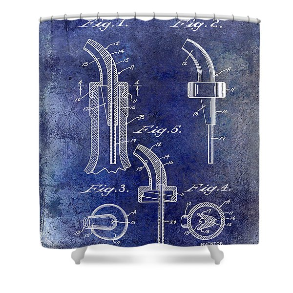 1958 Liquor Bottle Pour Patent Blue Shower Curtain