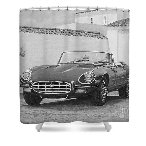 1961 Jaguar Xke Cabriolet In Black And White Shower Curtain