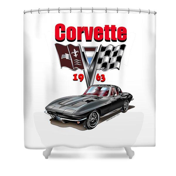 1963 Corvette With Split Rear Window Shower Curtain